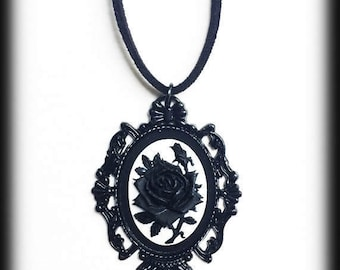 Gothic Victorian Necklace, Black Rose Cameo, Black Baroque Frame, Black and White, Steampunk, Romantic Gift, Gothic Jewelry