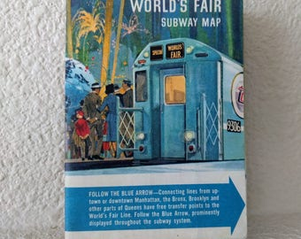 "Vintage Map, NYC Subway, 1964 World's Fair Edition, 18 3/4"" x 15 1/2"", New York World's Fair, Tourist Map, Sixties, Ca. 1960s"