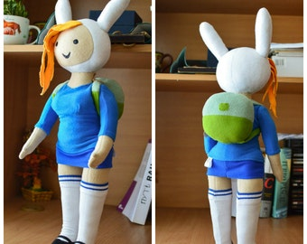 Adventure Time Inspired - Fionna  plush doll, sits and stands, 12 or 18 in high (you choose)