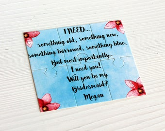 Asking Bridesmaid Puzzle,Bridesmaids Gift Puzzle Invitation,Bridesmaid Proposals,Personalized Will You Be My Bridesmaid,Maid of Honor puzzle