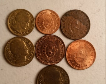 7 argentina vintage coins 1939 - 1949  - coin lot centavos - world foreign collector money numismatic a69