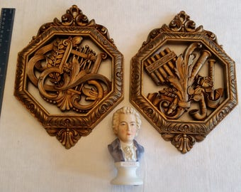 vintage lefton wolfgang amedeus mozart ceramic bust figurine & 2 plastic musical wall hanging plaques 1976 - lute and pipe organ by dart art