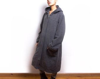 Vintage 80s Grey Wool Blend Winter Hoodie Coat ID:5006
