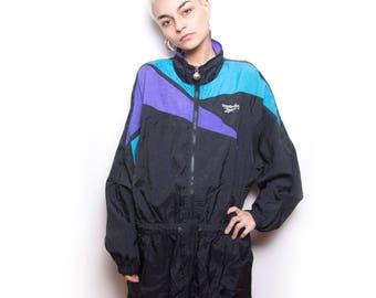 Vintage 90s Reebok Sports Jacket Raincoat ID:1285