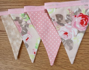 Pink floral bunting, pink floral banner, floral bunting, floral banner, shabby chic bunting, shabby chic decor