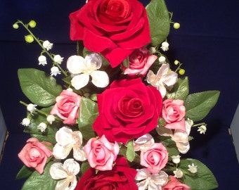 Silk Flower arrangement in red metal bucket with beautiful red  and pink roses and lily of the valley.