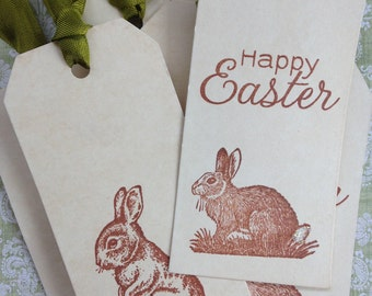Easter gift tags etsy coffee stained bunny tagsrustic style easter bunny tagsstained easter hang tags negle Choice Image