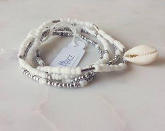 Cowri Shell Bracelet / Beaded Bracelet / Beaded Layered Bracelet / Shell Bracelet