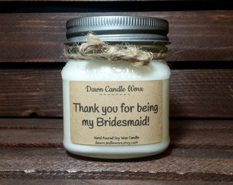 Thank You Bridesmaid Gift - Thank You Bridal Party Gifts - 8oz Soy Candles Handmade - Maid of Honor - Matron of Honor - Wedding Candles