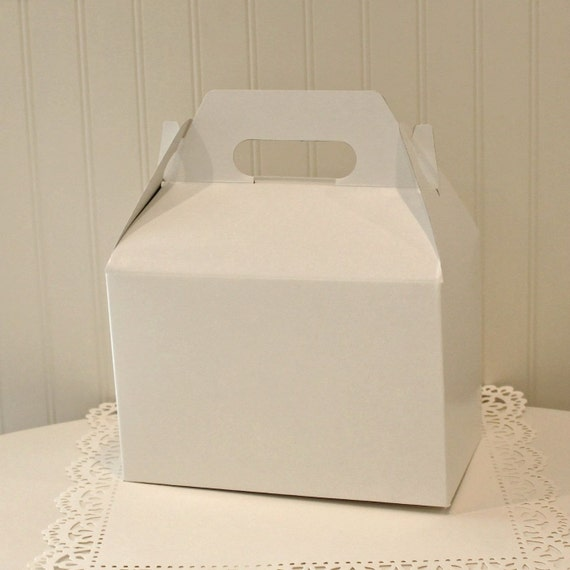 Wedding Favor Boxes White : White gable boxes favor with handle wedding welcome