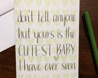 Funny Baby Congratulations Card - Congrats New Parents / Co-Parents / Two Moms / Two Dads - Newborn/Adoption - Hand Lettering Watercolor
