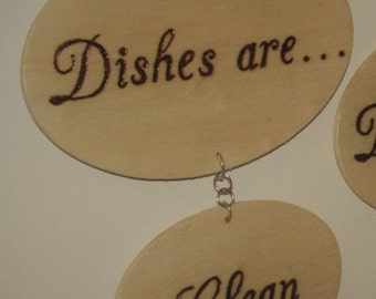 Wood Burn 'Clean/Dirty' Dishwasher Magnet