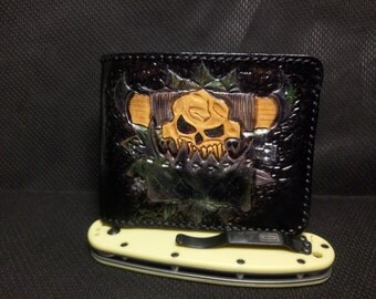 Handmade  Orc wallet natural leather stylished by Warhammer 40k