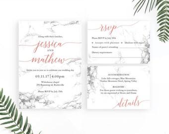 Marble Wedding Invitation / Modern Wedding Invitations / Printable Invitation Set / Printable Wedding Invites / Modern Calligraphy Invites