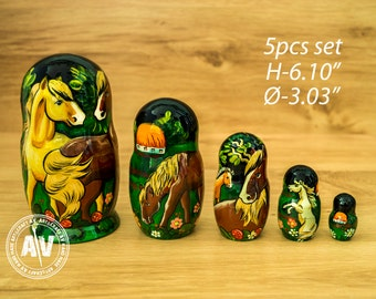 Matryoshka Horse decor Horse Nesting dolls Horse gifts babushka doll wood Kids gift Horse art gift for horse lover Home decor Horse ornament