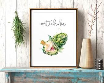 Kitchen Print, Artichoke, Kitchen Decor, Kitchen Wall Art, Watercolor Art, Restaurant Decor, Culinary Print, Vegetables Printable, Veggies