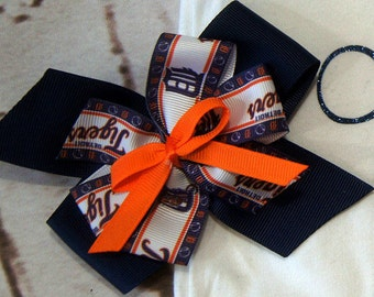 Detroit Tiger's Hair Bow/Hair bow/ Girl Hair bow/ Hair Accessories/Girls Barrettes/Detroit Tigers/Birthday Gift/First Birthday Gift/MLB