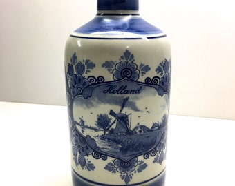 "Vintage Delft Bottle With Cork Stopper, Delft Blue Hand-painted Holland - 7""H"
