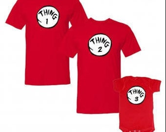 Matching Mum, dad and baby Tshirts Cat in the hat Thing 1, 2, 3 Dr Seuss