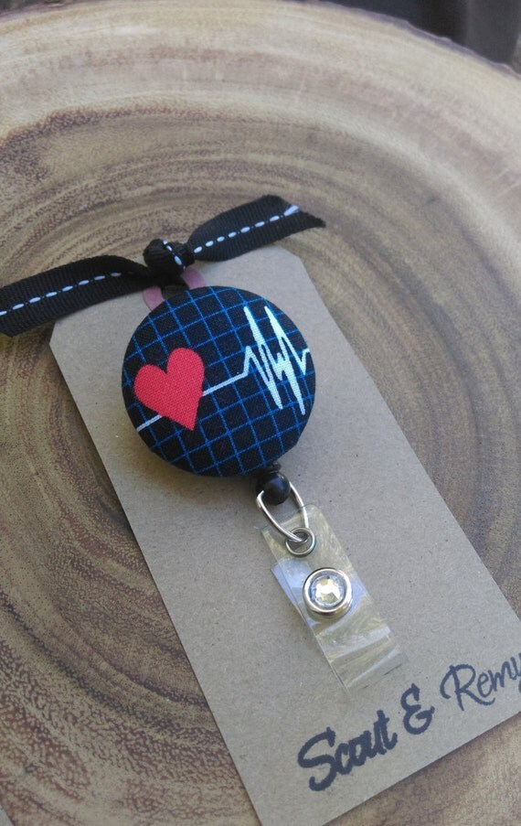 EKG, Cardiac, Heart, Heartbeat Retractable Badge Reel -ID / Badge Scout and Remy