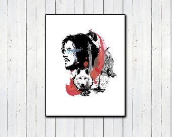 Jon Snow Headshot 11x14, 8x11, Watercolor Print, Direwolf Print, Game of Thrones, Throne, You Know Nothing Jon Snow, GRRM, Kit Harrington,