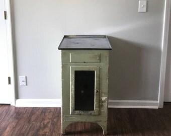 Vintage Green Metal Medical Cabinet