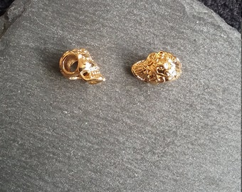 2 Warrior Skull Beads 12mm Bright Gold 3D Decorated Hollow 4mm Hole