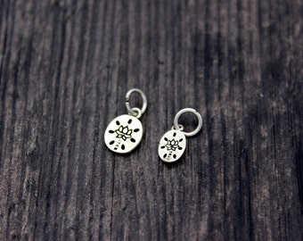 Sterling silver lotus root charm with lotus flower,Sterling Silver lotus flower charm,yoga jewelry