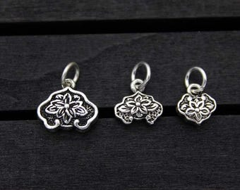 sterling silver lotus charm, sterling silver lotus pendant,Sterling Silver lotus flower,yoga jewelry