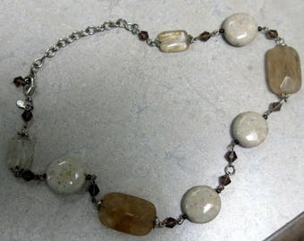 Natural Stone and  quartz rock necklace