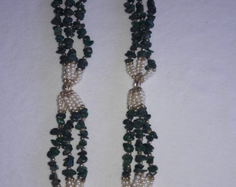 Malachite and Pearl Multi Strand Vintage Necklace