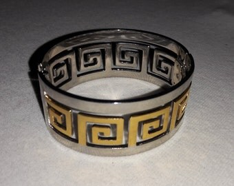 Silver Plated with Gold Plated Accent Vintage Cuff Bracelet NOS