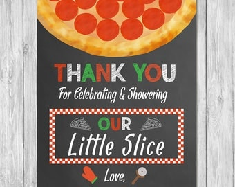 Pizza Party Baby Shower Thank You Card - Baby Shower Thanks - Couples Baby Shower Thank You - Pizza Baby Shower Thank You Card - Chalkboard