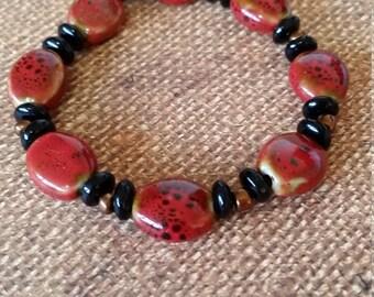 Lady Bug Red & Black Bracelet #12