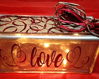 Love Glass Block - Lighted Glass Block - Valentine Day Decor - Gifts For Her - Valentine Gift - Personalized Glass Valentine - Custom Gift