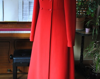Evening red coat / jersey wool/ 1960