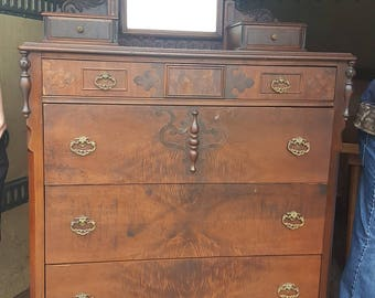 Tall Victorian Chest with Mirror Burl patterned wood design