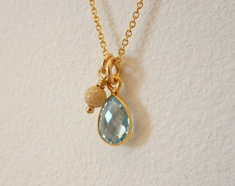 Gold Blue Topaz Charm Necklace - Blue Topaz Pendant - November Birthstone Necklace
