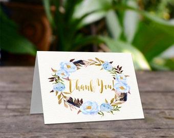 Boho Thank you cards, Printable thank you, Baby shower thanks, Bridal Shower,  Printable thanks card, Printable card, Thanks card, Blue-BoHo