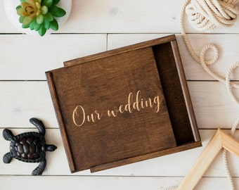 "Wedding Memory Wood Photo Box 4""x6"" 5x7 6x8 (10x15 cm 13x18 15x20) Pic Usb, Engraved Personalized Keepsake Box, caja de madera, boite en boi"