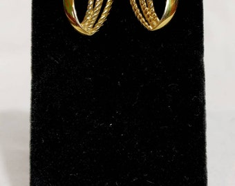 Trifari Gold Braided Clip On Earrings