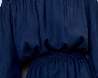 Women's dress Women's tunic Off shoulder dress Denim dress Cotton dress Summer dress Navy blue dress Women's mini dress Blue denim tunic
