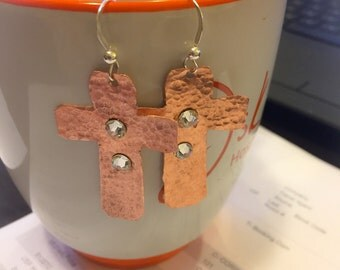 Copper Hammered Cross Earrings embellished with Swarovski Earrings