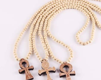 3 STYLES! Wooden Ankh Necklace