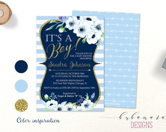 Blue It's a Boy Baby Shower Invitation Floral Pale Blue Baby Shower Invite Bohemian Printable Invite Floral Navy Gold Glitter Card - CS013