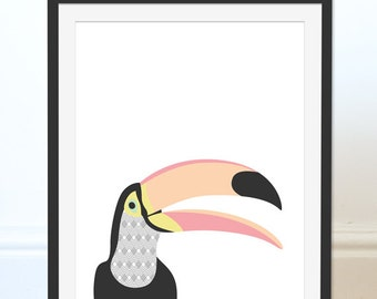 Toucan Art Print, Toucan Art, Toucan Picture, Tropical Birds, Nursery Wall Art, Children's Art, Wall Decor