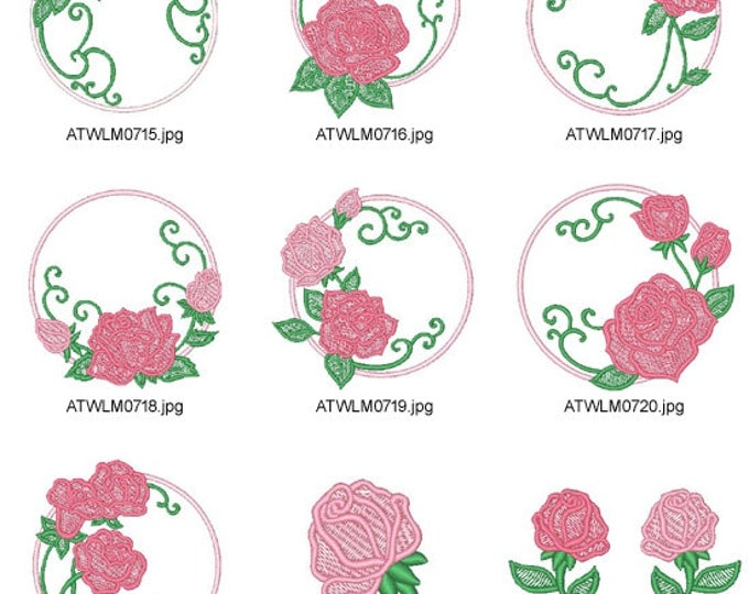 Rose-Circles ( 14 Machine Embroidery Designs from ATW ) XYZ17B