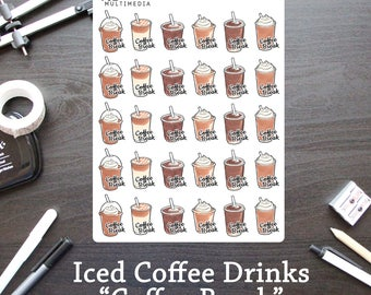 Iced Coffee Drinks - Coffee Break Stickers - Planner Stickers / Bullet Journal Stickers