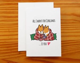 "Corgi Christmas Snuggle Greeting Card   5x7"" Card with Envelope   Corgi Holiday Cards   I Love You Seasons Greeting Cards   Handmade"