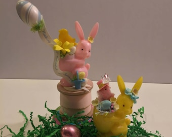 Rosen Rosbro Easter Bunny Plastic Candy Container Rabbit 50s Chicks Eggs Pink Yellow Vintage Retro Kitsch Whimsical OOAK